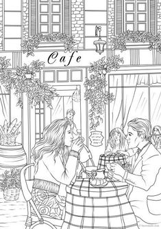 Date in a Cafe - Printable Adult Coloring Page from Favoreads (Coloring book pages for adults and kids, Coloring sheets, Coloring Designs) Detailed Coloring Pages, Coloring Book Pages, Coloring Sheets, Printable Adult Coloring Pages, Free Coloring, Kids Coloring, Watercolor Paper, Line Art, How To Draw Hands