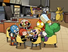 Avengers look at Thor!