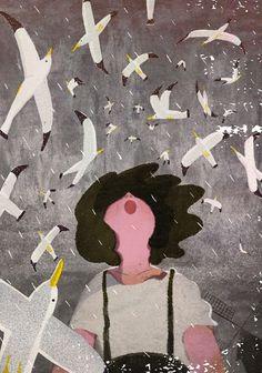 LOOK! #illustration #artwork #girl #seagull