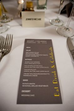 Modern yellow and gray reception menus