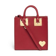 Sophie Hulme 'Albion' heart plate square leather box tote (3,430 SAR) ❤ liked on Polyvore featuring bags, handbags, tote bags, red, leather handbags, leather tote purse, leather handbag tote, red leather tote and red tote