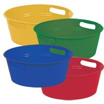 Bulk Colorful Plastic Storage Tubs at DollarTree.com ..spray paint metallic and use for storing alcohol at the wedding