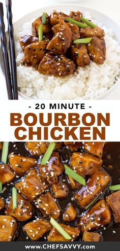 Super Easy One Pan Bourbon Chicken. Tastes so much better than the restaurant version! This recipe is the perfect Asian-inspired weeknight meal and comes together in just 20 minutes. Serve with rice or noodles to make it a meal! Easy Chicken Dinner Recipes, Chicken Wing Recipes, Vegetarian Recipes Easy, Asian Recipes, Easy Meals, Cooking Recipes, Easy Bourbon Chicken Recipe, Chinese Recipes, Chinese Food