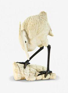 JAPANESE OKIMONO | Japanese ivory okimono of an egret : Lot 1194