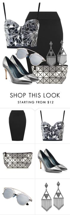 """""""Silver Lady"""" by deedee-pekarik ❤ liked on Polyvore featuring WearAll, Topshop, Bao Bao by Issey Miyake, Sergio Rossi and House of Harlow 1960"""