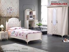 Dormitor alb tineret / copii stil clasic de lux Gold Bed, Interior, Furniture, Design, Home Decor, Cots, Simple Lines, Decoration Home, Stream Bed