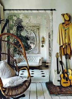 Bohemian, guitar, white walls, wicker chair