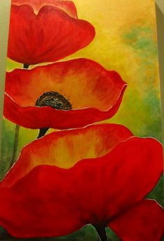 acrylic ... red poppies by @Diane Haan Lohmeyer Pitman
