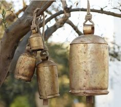These are a great alternative to the iron triangles and windchimes you usually see hanging from front porches.