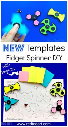 DIY Printable Fidget Spinner Template (without bearings. You loved our previous DIY Fidget Spinners so much, that we have created some more Free DIY Printable Fidget Spinner Templates. This set we made using Post-it Notes, giving them a super bright and c