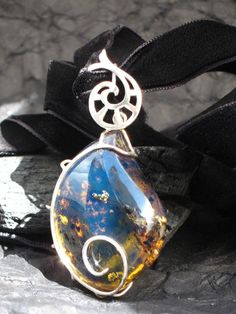 Blue amber pendant Princess of Heliconia  by LarimarAndSilver, $699.00