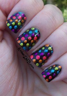 Metallic Rainbow polka dots