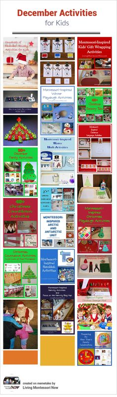 Calendar observances throughout the month and LOTS of December themed activities of all kinds, including Christmas countdown activities, Montessori-inspired Christmas unit studies, Hanukkah activities, Montessori-inspired winter themes, and New Year's activities.