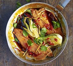 Vietnamese Caramel Trout - A caramel base balances out the hot and salty ingredients of this Asian-inspired one-pan fish dish for two Bbc Good Food Recipes, Rice Recipes, Seafood Recipes, Cooking Recipes, Meat Recipes, Recipies, Healthy Recipes, Easy Vietnamese Recipes, Asian Recipes