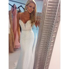 Sparkly Sequins Ivory Evening Dresses Mermaid Spaghetti Straps Beaded Waist Lace Bodice Prom Dresses 2014