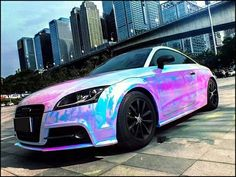 Best quality pink rainbow chrome vinyl wrap sticker Chrome Vehicle Wrap Cost Vehicle Ideas Wholesale vinyl wrap for cars Online Buy Best vinyl wrap NEW rainbow glitter effect Vinyl Wrap Car Wrapping Luxury Sports Cars, Top Luxury Cars, Fancy Cars, Cute Cars, Holographic Car, Hologram, Vinyl Wrap Car, Chrome Cars, Bmw Autos