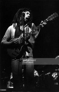 Reggae star Bob Marley (1945 - 1981) at the Rainbow Theatre, London.