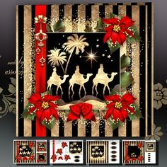 Golden Black Christmas Card With The Three Kings Mini Kit: 4 sheets for print with decoupage for 3D effect plus few sentiment tags (for your own personal text)