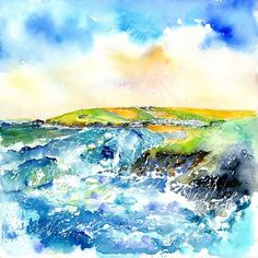 My second water Colour of Trevone bay Cornwall. www.sheilagill.co.uk/ #SheilaGill #TrevoneBay #Cornwall