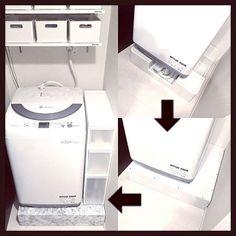 女性で、4LDKの100均/洗面所/賃貸/ホワイトインテリア/白黒/モノトーン…などについてのインテリア実例を紹介。「パンカバーを作って、大理石風のインテリアシートを貼って、隙間ストッカーを置きました! 最初よりはだいぶスッキリ❤️ でも洗濯機のホースが目立つので隠したいです。 綺麗に隠せる方法をご存知の方、教えてください!」(この写真は 2016-07-06 08:48:04 に共有されました)