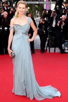 Draped Blue Gown is Trending at Cannes 2014 | Naomi Watts in grayish pastel blue draped Marchesa gown at the Red Carpet during Cannes Film Festival 2014 #Cannes2014 #fashion