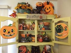 Halloween Hutch Display with Vintage Pyrex