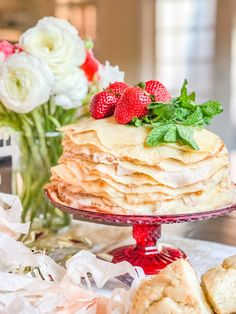 This Roasted Strawberry Crepe Cake is the perfect centerpiece for a party. It is made with 25 layers of crepes with roasted strawberry custard spread between each individual layer. The result is a slightly sweet cake that can easily serve people. Strawberry Crepe Cake Recipe, Strawberry Crepes, Quiche Recipes, Cake Recipes, Dessert Recipes, Desserts, Bread Recipes, Croissant, Macarons