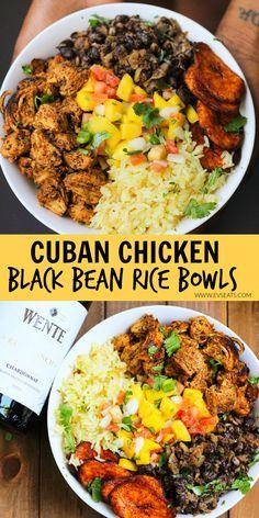 Mango Salsa, Cuban Chicken, Black Bean Chicken, Chicken Rice Bowls, Chicken Burrito Bowl, Clean Eating, Healthy Eating, Healthy Food, Comida Latina