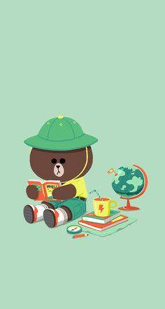 line Brown Wallpaper, Bear Wallpaper, Kawaii Wallpaper, Wallpaper Iphone Cute, Wallpaper Backgrounds, Character Wallpaper, Line Friends, Kakao Friends, Bunny And Bear