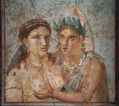 Ancient Roman fresco presenting satyr and maenad, from Pompeii, from the Casa di Caecilius Jucundus in Pompeii. Ancient Rome, Ancient Art, Pompeii And Herculaneum, Décor Antique, Roman Art, Satyr, Greek Art, Medieval Art, Old Art