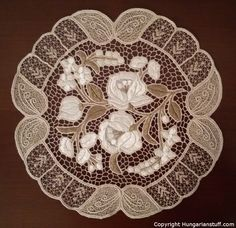 """White """"Kalocsa"""" spacer with grey leafy pattern_www.hungarianstuff.com"""