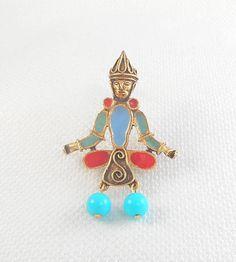 Vintage Florenza Egyptian Revival Brooch Pin Figurative
