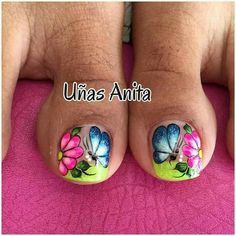 Toenail Art Designs, Pedicure Designs, Toe Nail Designs, Cute Toe Nails, Toe Nail Art, Pretty Nails, Nails & Co, Manicure And Pedicure, Gel Nails