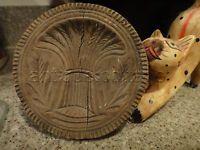"antique 4 3/8"" WOOD BUTTER WHEAT COOKIE MOLD STAMP w HANDLE folk art AAFA prim"