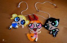 Powerpuff Girls necklace hama beads by KarinMind on deviantART
