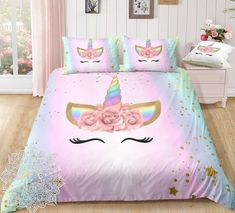 Dreaming Unicorn Lash Bedding Set is part of Unicorn bedding Our unique Duvetalso called Duna, Quilt will brighten up your entire bedroom and elevate your decor to a whole new level Choose your siz - Unicorn Bedroom Decor, Unicorn Rooms, Unicorn Bed Set, Unicorn Themed Room, Unicorn Decor, Bedroom Furniture Sets, Bedroom Sets, Lounge Furniture, Master Bedroom