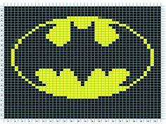 Hello,Here is a few things I found for batman crochet items:Holy Potholders, Batman! - Knitting too! Crochet Pixel, Crochet Chart, Pixel Crochet Blanket, Crochet Diagram, Cross Stitching, Cross Stitch Embroidery, Cross Stitch Patterns, Knitting Charts, Knitting Patterns
