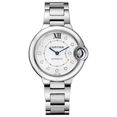 Cartier Ballon Bleu Collection stainless steel and diamond watch. Floating like a balloon and as blue as the sapphire safely nestled in its side, the Ballon Bleu watch by Cartier adds a dash o. Tag Heuer, Cartier Watches Women, Watches For Men, Ladies Watches, Fine Watches, Women's Watches, Bracelet Cuir, Bracelet Watch, Audemars Piguet