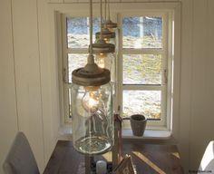 Lamps made by old glass bottles (Norgesglass) Scandinavian Cottage, 60s Furniture, Old Glass Bottles, Home Board, Dining Room Lighting, Diy Interior, Cottage Living, Mason Jar Lamp, Stores