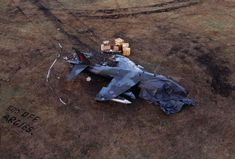 Crashed British Harrier during the Falklands war, with an interesting message for Argentinian pilots.