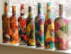 Lokta Paper Decoupage on Large Glass Wine by cutelittlecanvases, $25.00