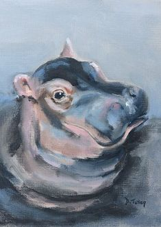 Baby Hippo Safari Animal Painting by Donna Tuten and other gender-neutral kids' . Baby Hippo Safari Animal Painting by Donna Tuten and other gender-neutral kids' . Cute Hippo, Baby Hippo, Animal Paintings, Animal Drawings, Nursery Paintings, Nursery Prints, Safari Animals, Baby Animals, Hippo Tattoo