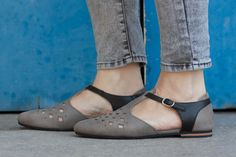 Sale 20% OFF Grey Leather Sandals Leather Flats Grey by BangiShop