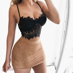 Sexy Strap Lace Crochet Bustier Crop Top Floral Camis Padded Tank To - mefashionova Black Lace Tops, Lace Crop Tops, Crop Top Bra, Bikini Tops, Bra Tops, Bustier Top, Tank Tops, Calvin Klein Underwear Women, Sexy Outfits