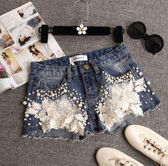 Lace Flowers Denim Fashion Shorts