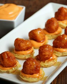 Mini Chicken and Waffles with Spicy Dipping Sauce Appetizer recipe.