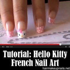 Hello Kitty French Nail Art ►► http://www.hairmakeupnails.net/hello-kitty-french-nail-art/?i=p