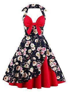 a7be75f1 2017 New Summer Vintage Dress Halter Sleeveless Women Retro Dresses V Neck  Patchwork Floral Print Bowknot Backless Party Dresses