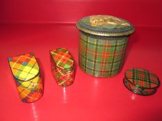 4 Antique TARTAN WARE - SEWING BOXES & THIMBLE CASES - 3 Signed - Excellent #1 #mixed