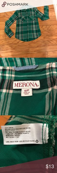EUC Green plaid shirt - S 100% Merona green plaid shirt - S. Worn a few time But in great condition. Merona Tops Button Down Shirts